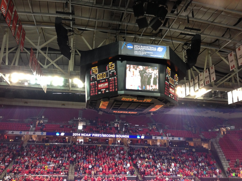 Scoreboard at the Maryland-Army game